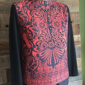 Vintage LANVIN Paris Long Sleeve Beaded Sweater